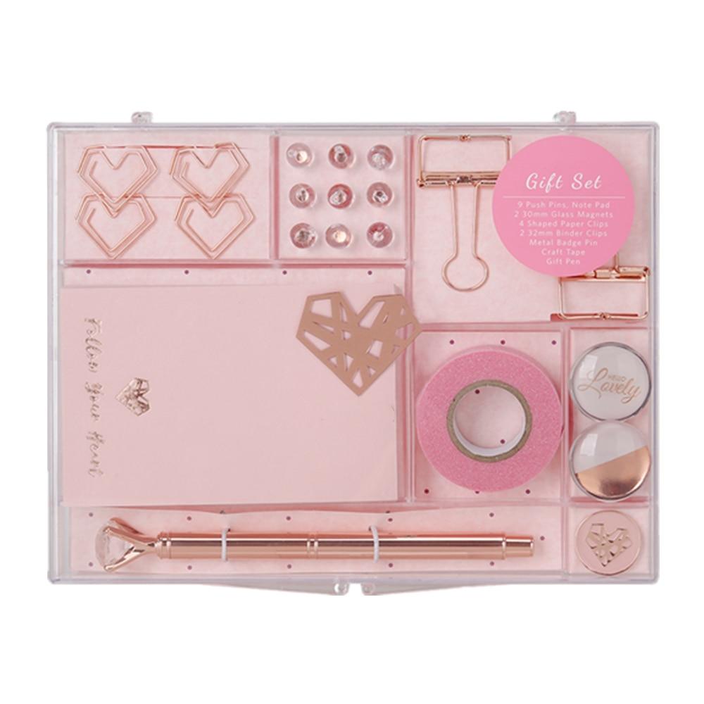 Rosa oro papelería regalo conjunto suministros de oficina creativos bolígrafo para coleccionista, cinta Washi, Clips de carpeta, Cubo de notas Office Value Pack