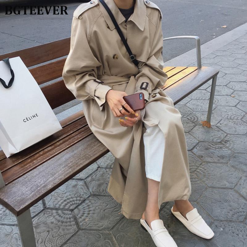 Британский двубортный негабаритный Длинный плащ Женская ветровка модная женская куртка с отложным воротником Длинные пальто зима 2019