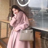 women winter handmade double side 100 woolen cashmere real fox fur collar long wool coat