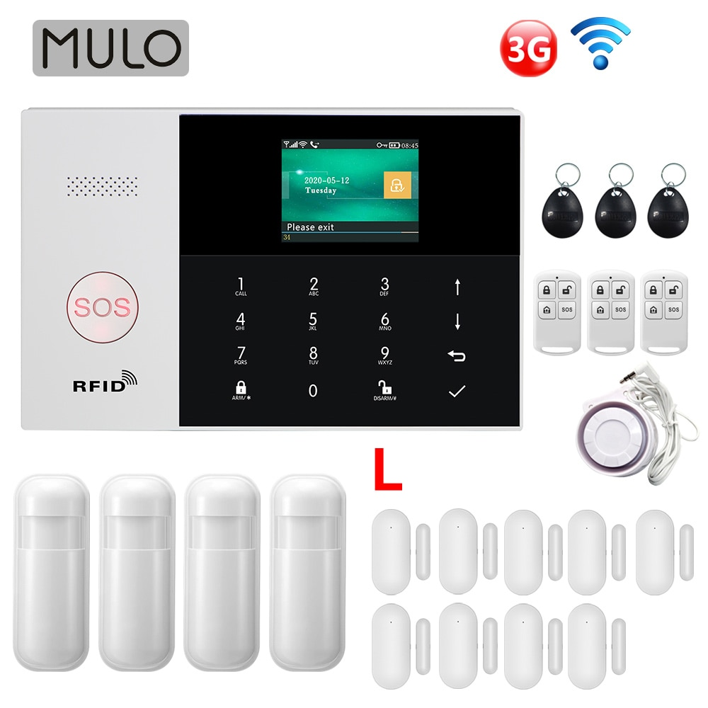 MULO Wifi 3G Alarm System 433MHz Home Burglar Security with Motion Sensors Remote Control 11 Languages Wireless Alarm System