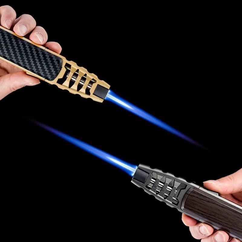 Outdoor Torch Gas Jet Turbo Lighter Windproof Kitchen BBQ Lighter Metal Butane Pen Spray Gun Cigar Pipe Lighter Gadgets For Men
