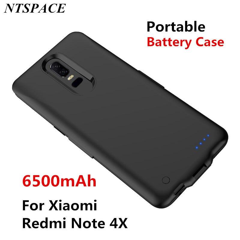 Cubierta de Banco de energía portátil para Xiaomi Redmi Note 4X funda de carga de teléfono de respaldo 6500mAh batería externa cargador de energía