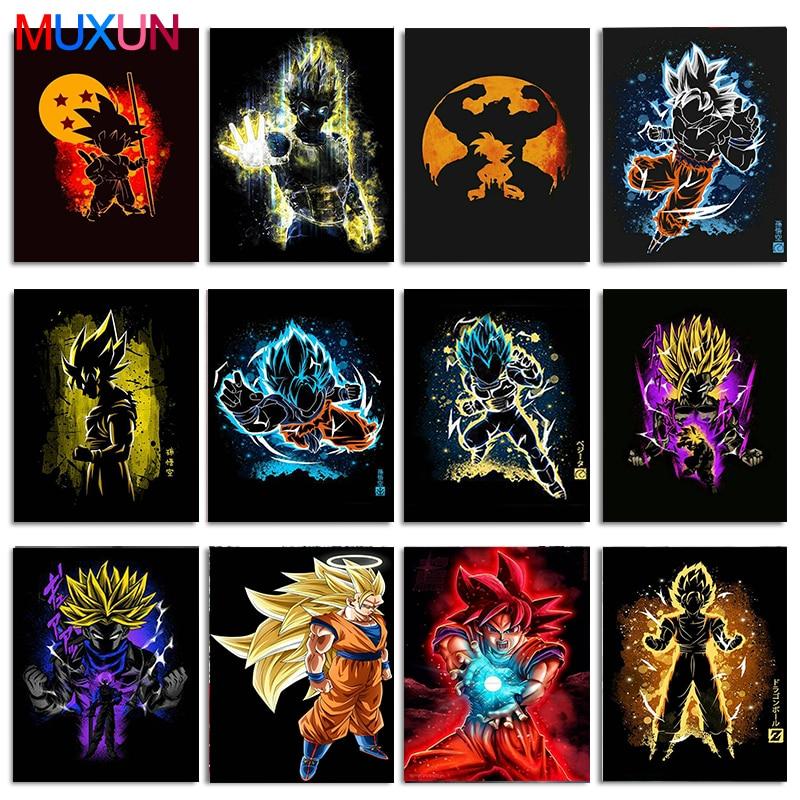 Diy pintura de diamante cuadrado completo/taladro redondo punto de cruz Goku Dragon Ball Super Hot Fighting Japón Anime mosaico de decoración para regalo arte