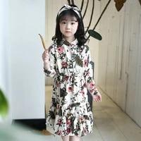 children dress girls long sleeves flower print cotton dress kids spring summer dress for girls fashion clothes 5 6 8 10 12 years