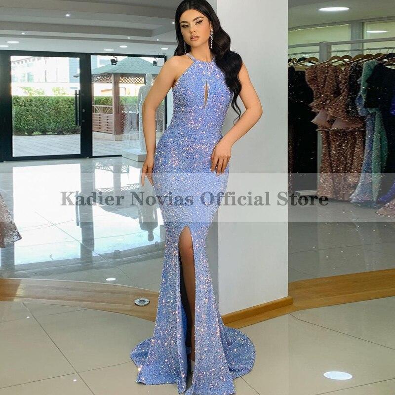Vestido de noche largo de sirena, vestido de fiesta de graduación con abertura, color azul, 2021