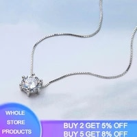 yanhui 925 sterling silver necklace six claw mosaic cz zircon 3ct diamant choker necklace for women collier valentines day gift