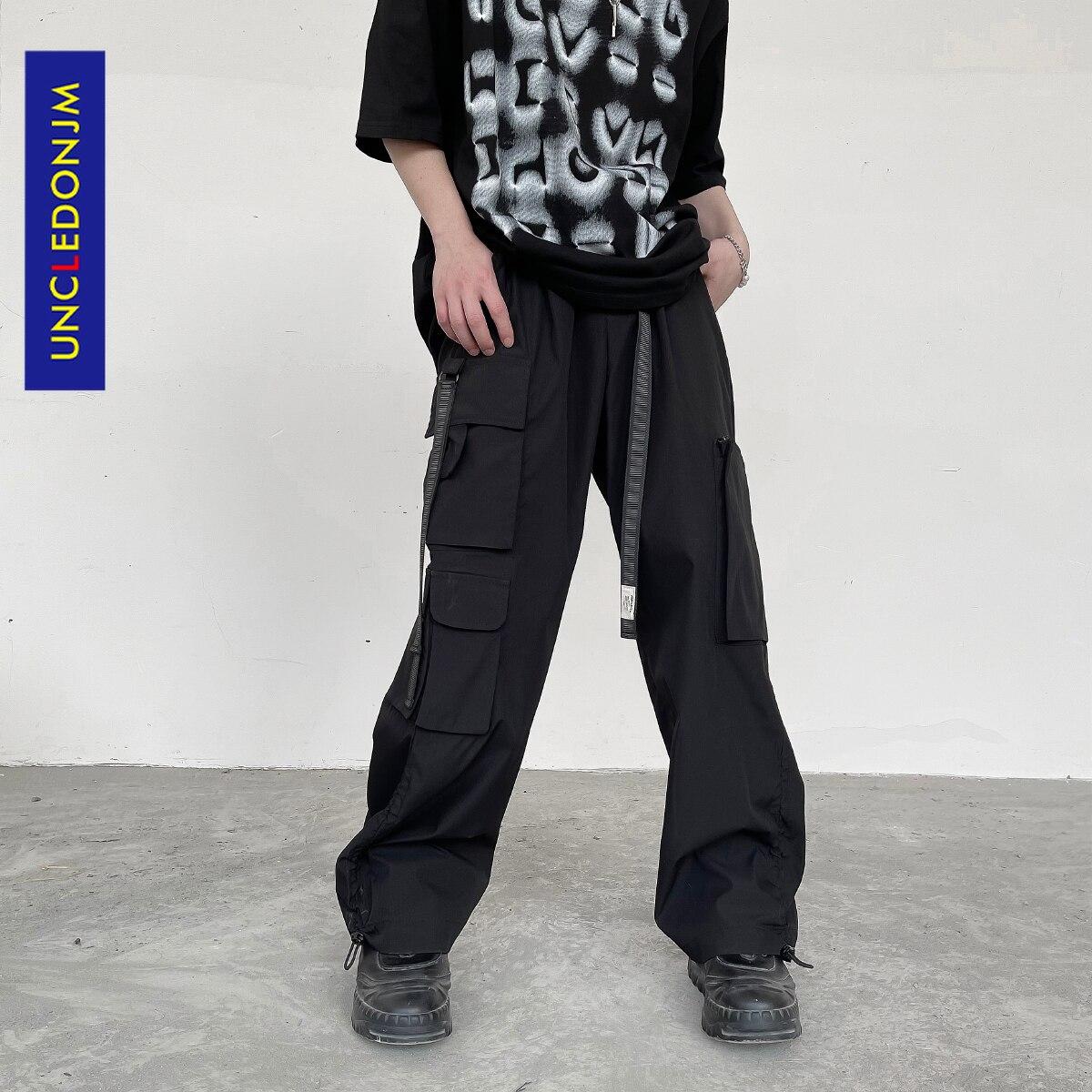 UNCLEDONJM-بنطلون كارغو للرجال ، حزام خصر ، ملابس الشارع ، متعدد الجيوب ، مكدس ، بدلة رياضية هيب هوب ، فضفاض ، U20322