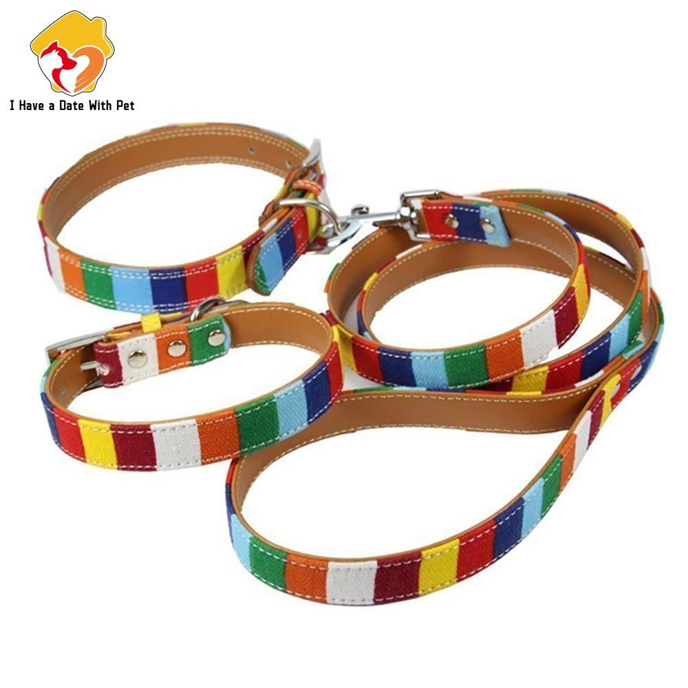 (1 collar+1 leash)  S M L XL XXL Leather Dog collar Led Set  Designer canvas Pu Leather Colorful Plain Pet Dog Collar Leash Set