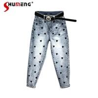 2021 spring autumn embroidered jeans cartoon pattern new high waist women denim pants slimming harem radish baggy trousers