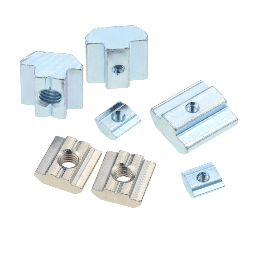 10/5pcs M3 M4 M5 M6 M8 M10 T Block Square nuts T-Track Sliding Hammer Nut for Fastener Aluminum Profile 2020 3030 4040 4545