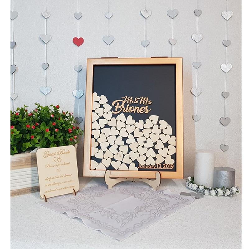 Libro de invitados de boda de madera de bronce, alternativa, libro de invitados de corazón personalizado, marco de caja de regalo, caja de sombra rústica de caligrafía, caja de memoria