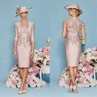 mother of the bride dress with jacket dresse elegant v neck 2 pcs pink tea length s vestidos de novia mothers wedding dresses