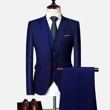 Suit 2021 Male 3 Piece Set Business Men's Suits Blazers Large Size Boutique Suit Slim High-end Forma