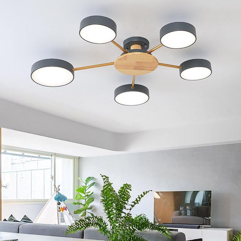 Nordic modern minimalist chandelier bedroom LED ceiling lamp living room personality macaron room wood plus iron lighting