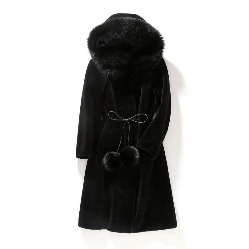 Real wool sheep shearing coat female fox fur collar large thickened fur coat hooded medium length enlarge