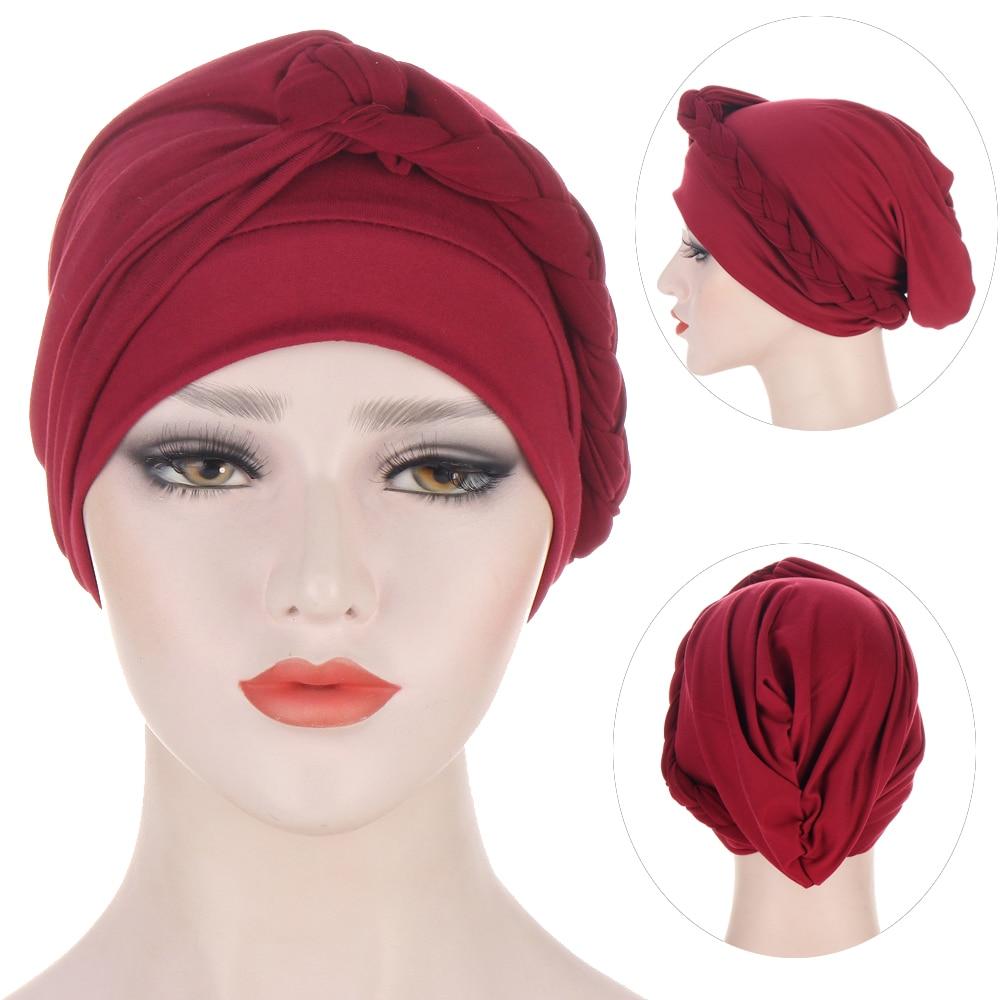 Мусульманский косы тюрбан шляпа Однотонная одежда стрейч внутренние хиджабы Ready To Wear Headtie женский платок на голову капот химиотерапия шляпа...