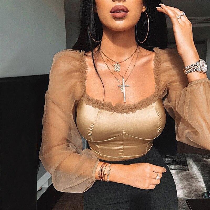 Blusa negra con cuello cuadrado para mujer, camisa elegante para mujer, Top Sexy con manga de farol para verano del 2020, blusas informales de oficina para mujer, camisas