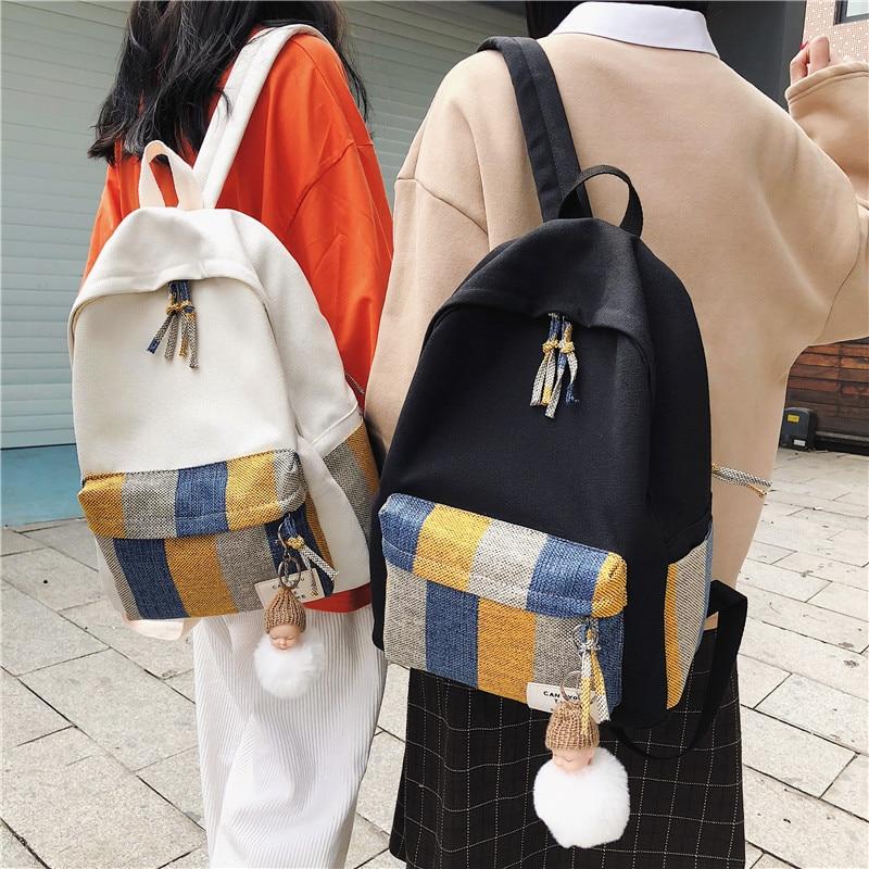 Weysfor Female Backpack Women Classic Plaid Pattern Backpack College School Bagpack Teenage Girls Harajuku Travel Shoulder Bags