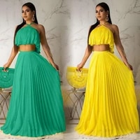 summer pleated skirt set crop top lace up halter and skirt two piece set sexy elegant party club dresses women beach holidays