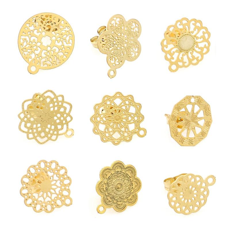 Diseño de flor abierta Retro, hallazgos bohemios de acero inoxidable, pendiente de tuerca, aguja básica, componentes de poste, pendiente DIY, fabricación de joyería