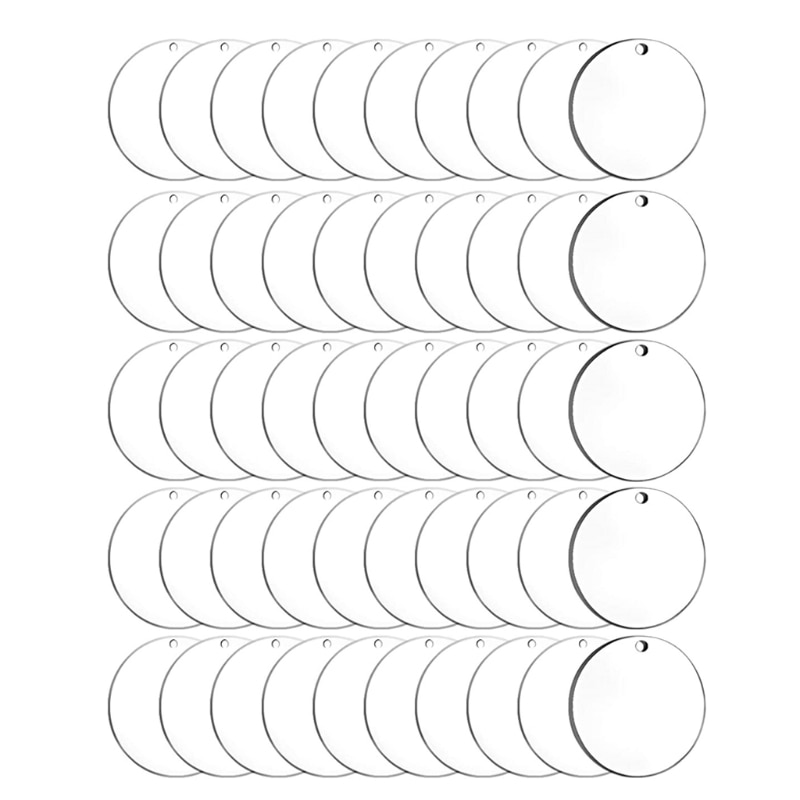 50Pcs Acrylic Circle Blanks Clear Rounds with Hole 2 Inch Blank for Keychain Pendant DIY Jewelry Making