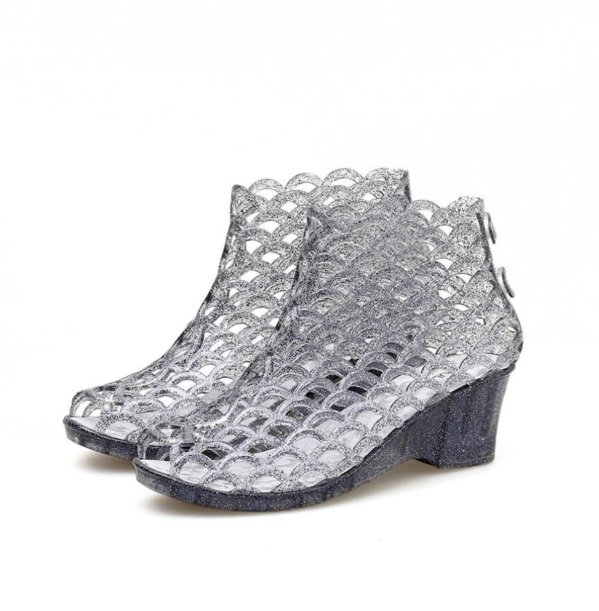 Sandalias de tacón alto sexys de gelatina para mujer, zapatos plateados de...