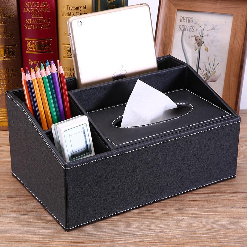 Multifunctional leather tissue box European-style household car drawer box napkin box coffee table tissue storage box customizat