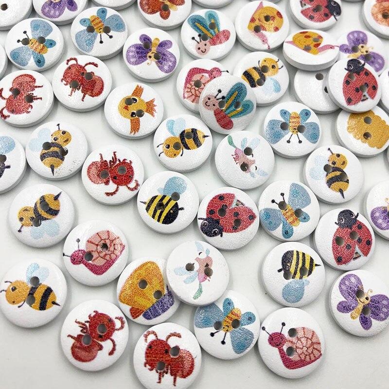 Nuevos botones de madera para costura chico de animales de 15mm 100 Uds. Mezcla de lotes para álbum de recortes WB696