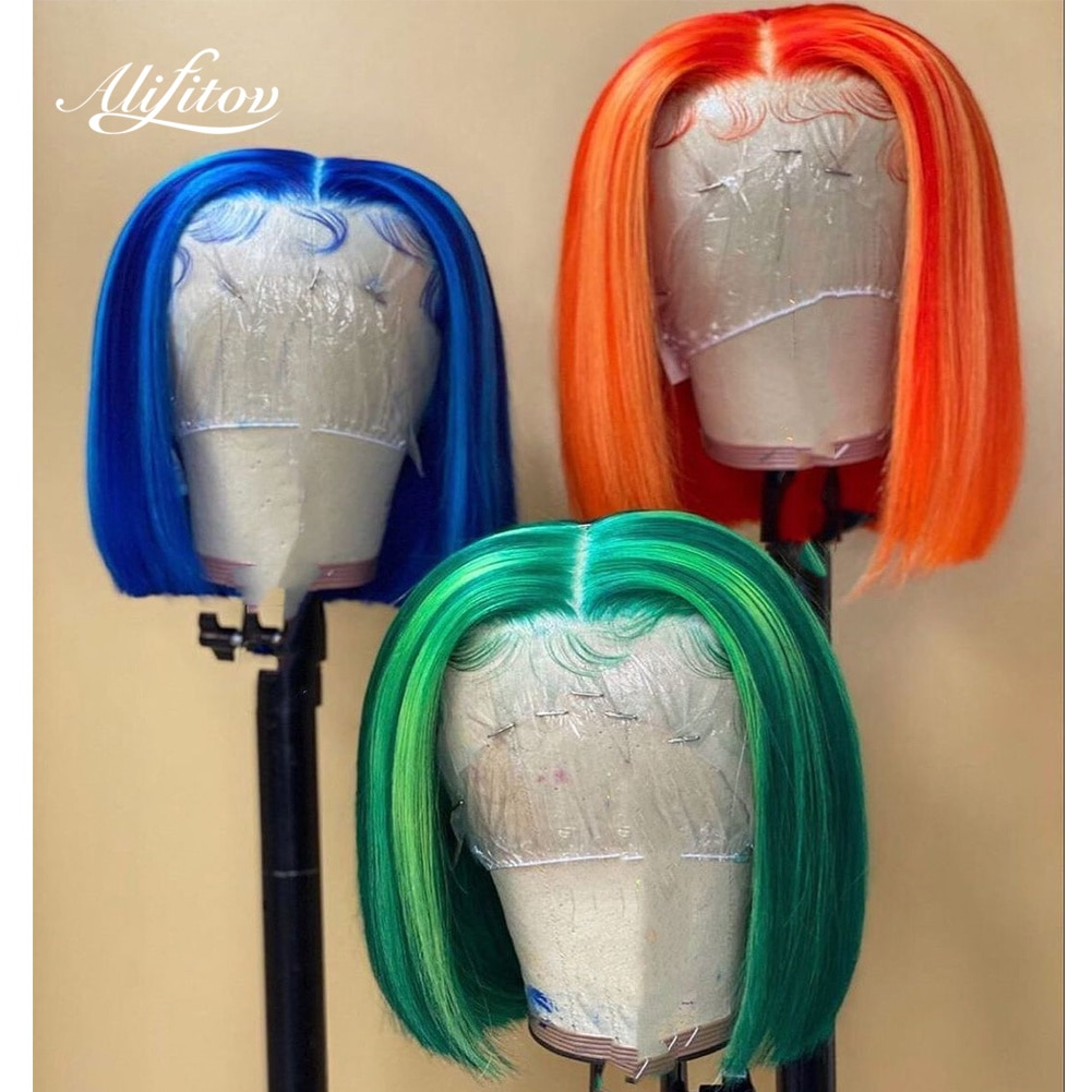 ALIFITOV Blue Green Orange Highlight Lace Front Wigs Short Bob Pre-Plucked Remy Hair Human Hair Wigs with Baby Hair For Women