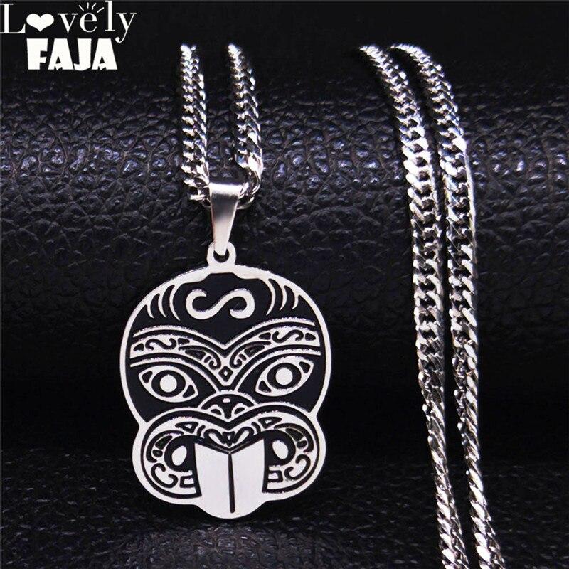 Collar de acero inoxidable con diseño de mono cortado para mujer, collares de Color plateado, collar de joyería, acero inoxidable para mujer N3756S03