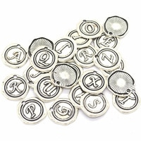 60 Pcs/lot Antique Silver Alphabet Personalized Add on Letter 26 English Letters Charms Monogrammed Intial Wax Seal Pendant 18mm