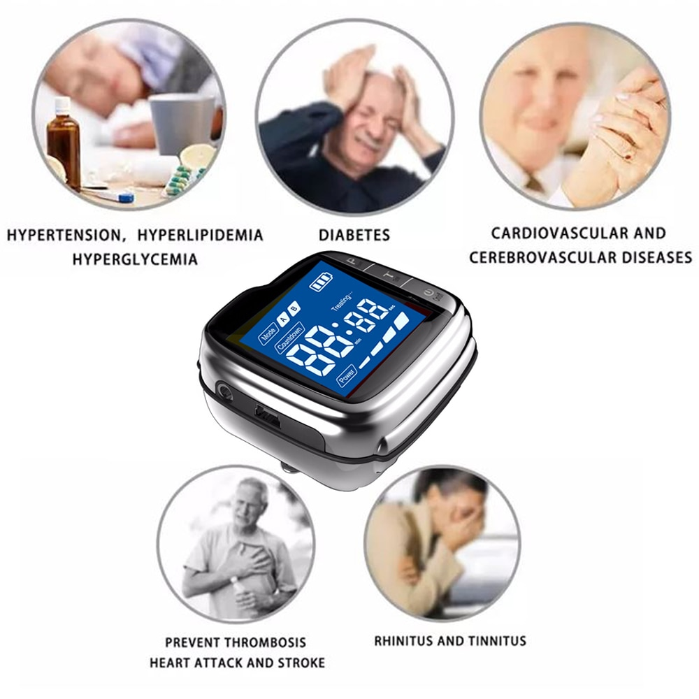 ديود 650nm ساعة علاج الليزر LLLT لمرض السكري ارتفاع ضغط الدم تخثر الدم أداة التشعيع بالليزر الكولسترول
