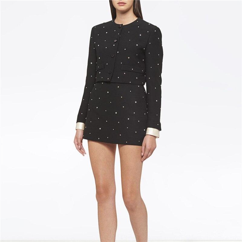 طقم مكون من قطعتين لمصممي العلامة التجارية لخريف 2020 ملابس نسائية كورية أنيقة مرصعة بالألماس وسترة قصيرة + تنورة صغيرة من قطعتين