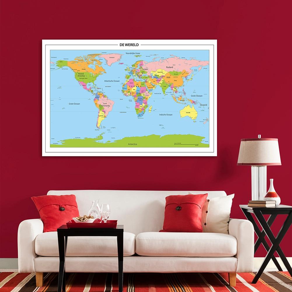 150*100 см политическая карта мира в голландском стиле настенный плакат нетканый холст Офис Гостиная домашний декор школьные принадлежности