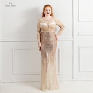 Evening Dresses Long O-Neck Sequined Dresses Woman Party Night Sequin Evening Gowns for Women Mermaid Evening Dress Big Size