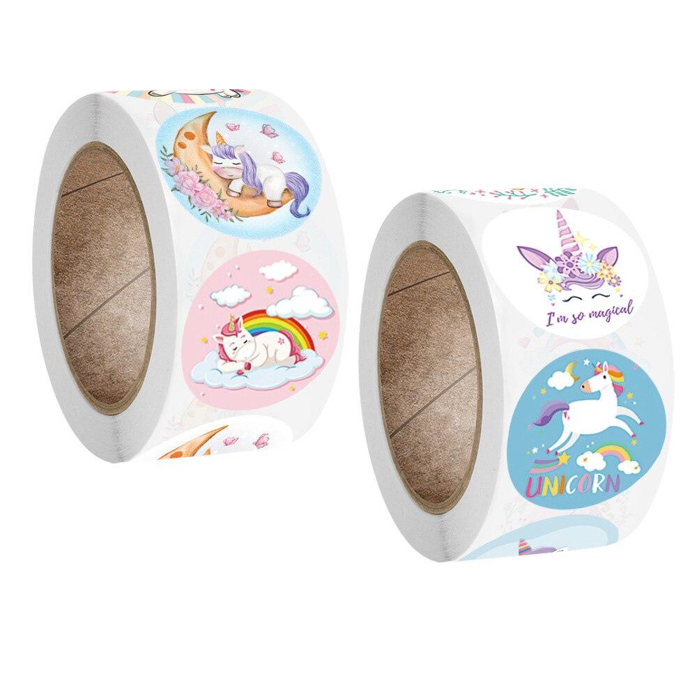500pcs/roll cartoon unicorn stickers scrapbooking for note Various pattern cute kawaii sticker teacher reward student stationery