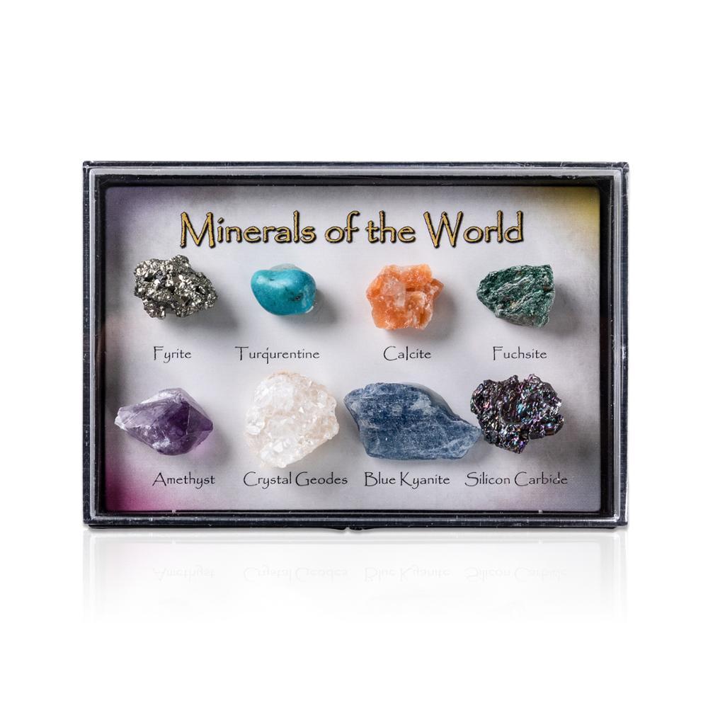 8 peças pedra natural de turmalina de cristal áspero misturado, ore mineral, coleção de pedras com caixa de decoração