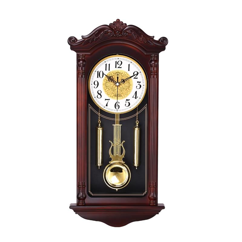 Reloj de pared chino creativo, péndulo silencioso Retro Para sala de estar, relojes oscilantes de imitación de madera, reloj de cuarzo Duvar Saati, regalo FZ693