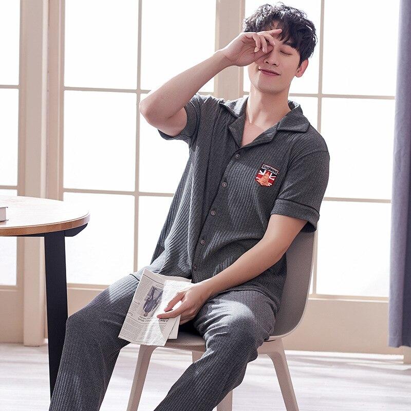 Лето 100% 25 хлопок пижама комплекты мужские мужские короткие с рукавами брюки дом сервис тонкие повседневные большие размер костюм новинка горячая 2021 дропшиппинг