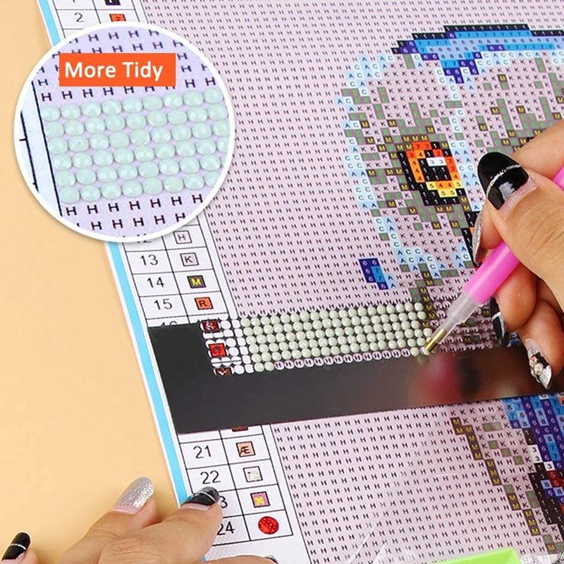 Reglas de herramientas de pintura de diamante 5D de 2 piezas reglas para dibujo Diy con rejillas en blanco y bolígrafos de taladro ligero herramientas para arreglar