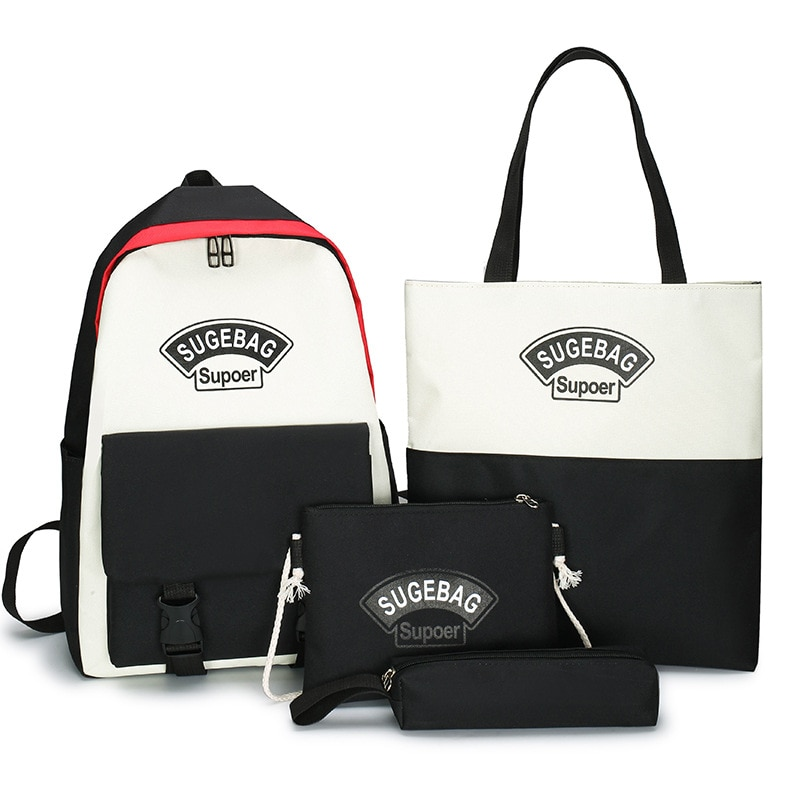 4 Sets/Pcs Woman Laptop Backpack Ribbons School Backpacks Solid Schoolbag For Teenagers Girls Student Book Bag Female Satchel