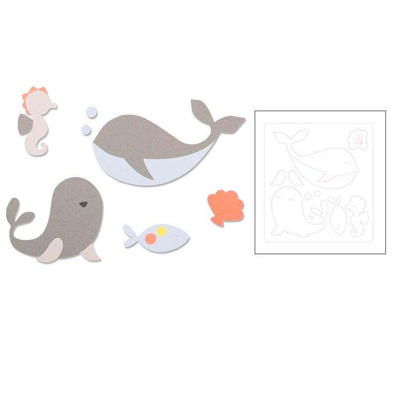 2020 Hot Animal ballena delfín Hippocampus nuevo troquelado moldes Metal corte troqueles Scrapbooking y papel de aluminio para hacer tarjetas sin sellos