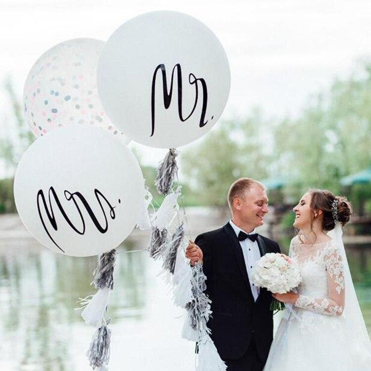 2 pçs casamento europeu & noivado fotografia adereços decoração do quarto de casamento layout mr mrs 36-inch balão gênero revelar