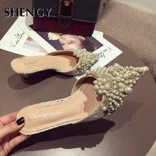 Sandalias de perlas de verano 2019, zapatos de tacón alto finos de moda para mujer, zapatos de fiesta de oficina