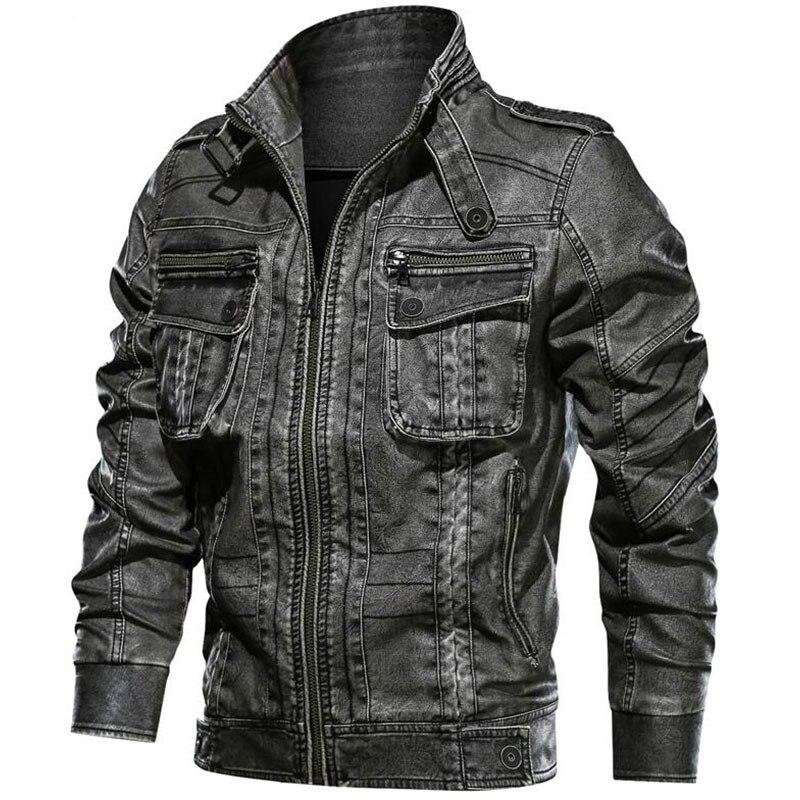 High Quality PU Leather Jacket Men Vintage Motorcycle Biker Faux Leather Jackets Coat Windproof Warm Winter Pilot PU Outerwear
