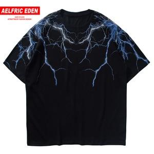 Hip Hop T Shirt Men High Street Dark Lightning Print Cotton Hip Hop Summer Street Wearing Short Sleeve T-Shirt Black