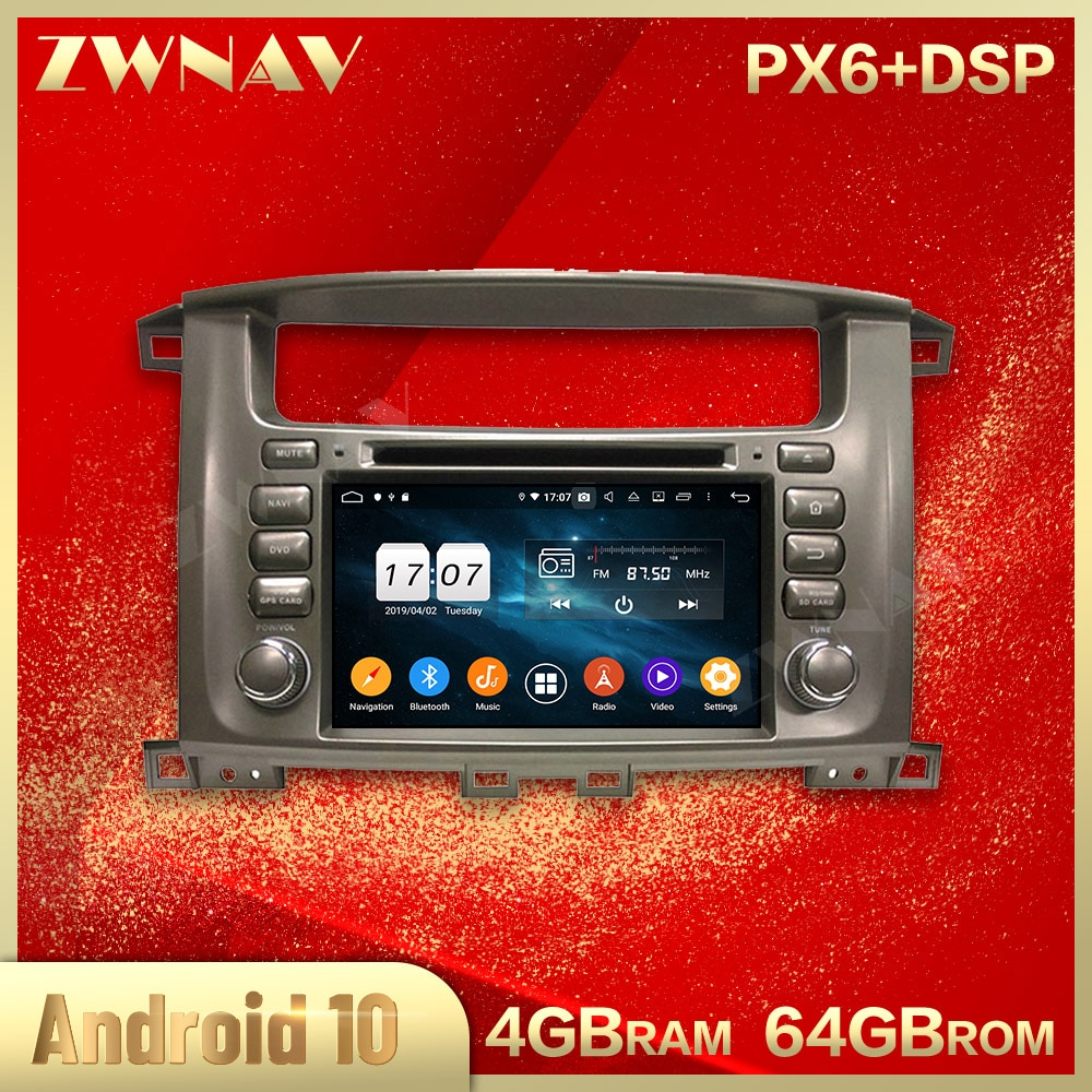 2 din Android 10,0 reproductor Multimedia para auto TOYOTA Land Cruiser 100 1998-2008 video WiFi GPS navi unidad estéreo para coche