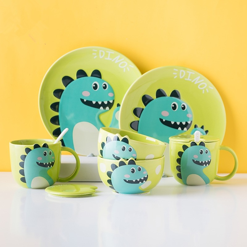 Children's Tableware Set Bowl and Dish Household Ceramic Cute Cartoon Nordic Ins Wind Students One Person Breakfast Dishes