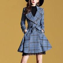 Femme bleu Plaid laine manteau mince ceinture veste