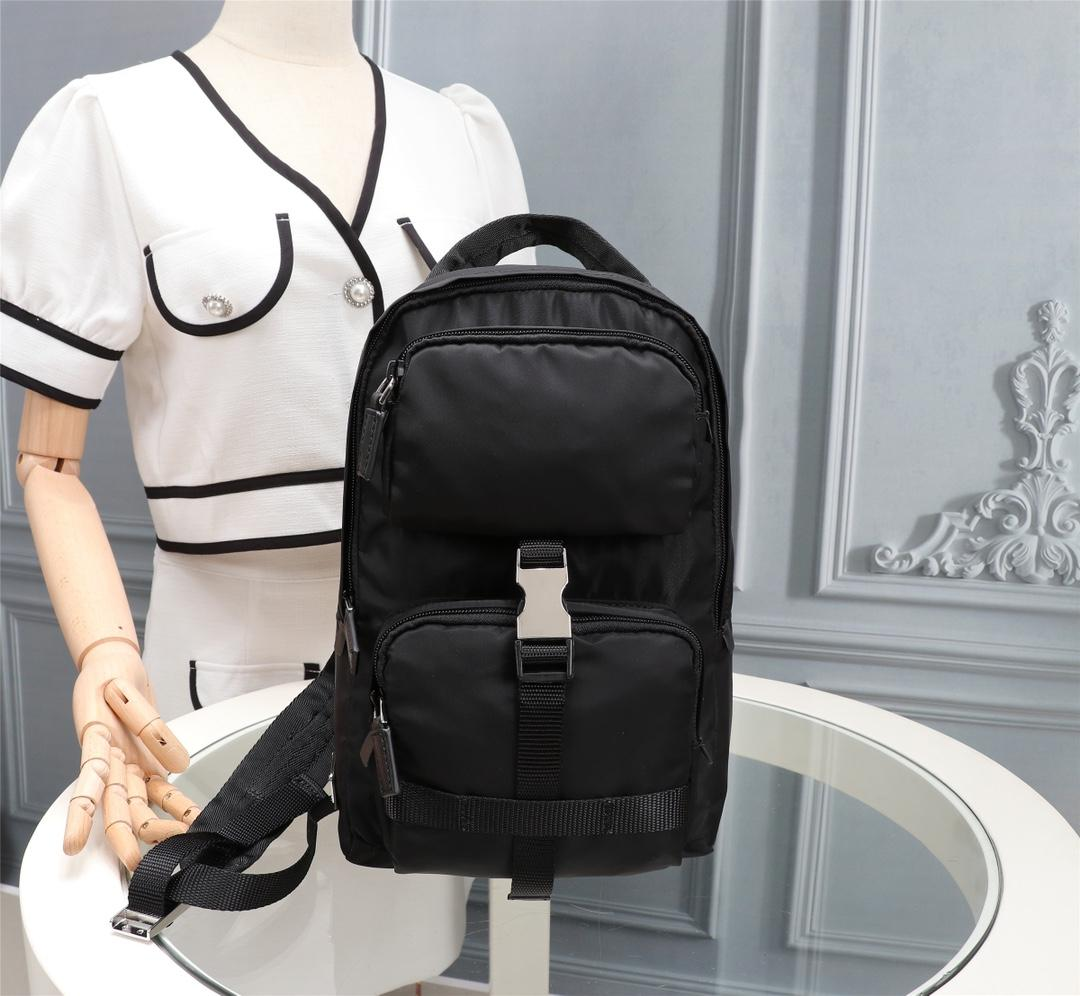 Unisex black nylon canvas waterproof backpack fashion leisure sports outdoor fitness rock climbing mountaineering multifunctiona